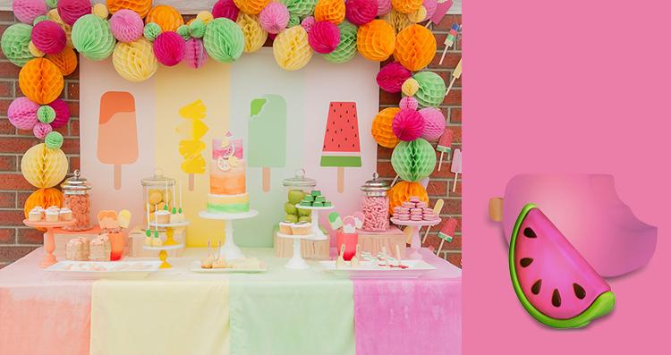 Fazendo festa infantil: tropical decoração com luminárias melancia e picolé