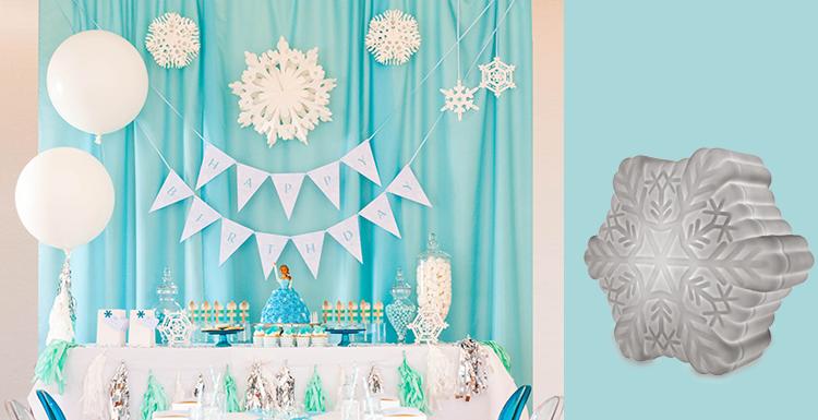 Fazendo festa infantil: frozen decoração com luminárias flocos de neve