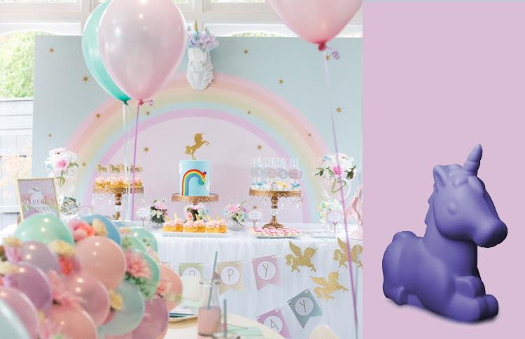 Fazendo festa infantil: decoração com luminária unicórnio